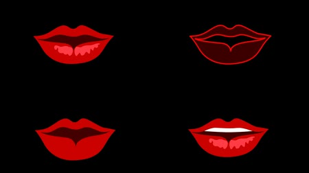 beszéd : Set of speaking lips mouth. Red lips on the black background. Seamless animation Stock mozgókép