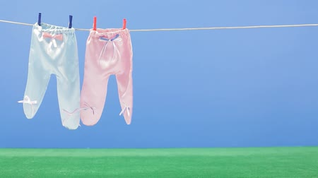 çamaşırhane : Two pairs of laundry hanging on a drying rope