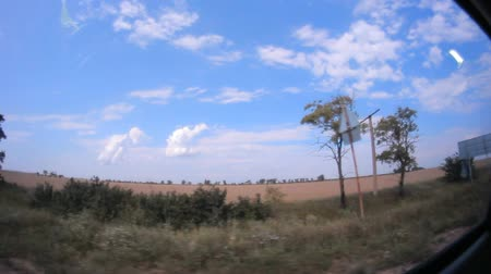 side window : Footage from inside of the car though the mirrow of a roadside moving by fast and of cloudy sky. Stock Footage