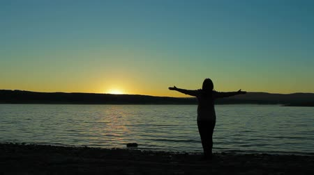 роды : Pregnant woman on the lake meets the dawn sun. She raises her hands up, she relaxed and happy. Стоковые видеозаписи