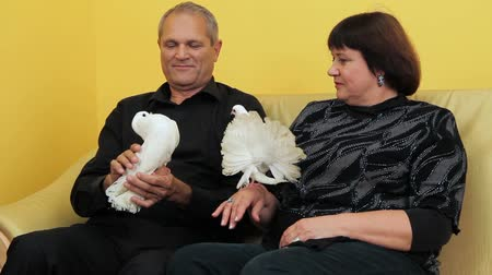 dove of peace : Mature couple sitting on a couch and holding a white doves.