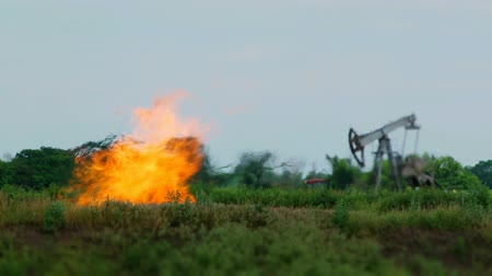 bowels : Oil derrick stands in the middle of green nature. Strong flames burst from the ground.