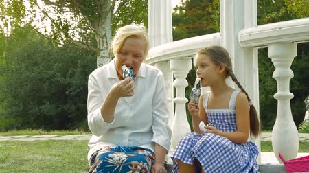 бабушка : Granddaughter and grandmother eating ice-cream on a summer day in a park