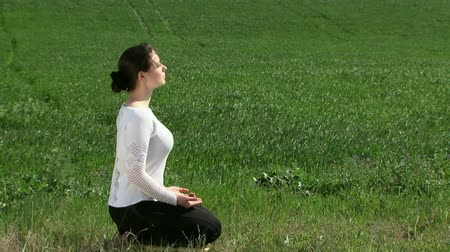 размышлять : A beautiful girl sitting outdoors in the lotus position and meditating.