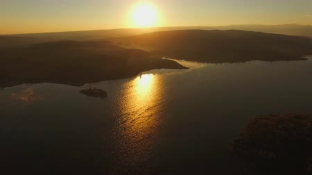 wavelet : AERIAL VIEW. Sun Shining Above Water Reservoir In The Evening