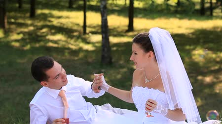 evli : Wedding Bride and groom Outdoors Stok Video