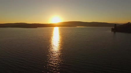 wavelet : AERIAL VIEW. Fantastic Sunset At Water Reservoir