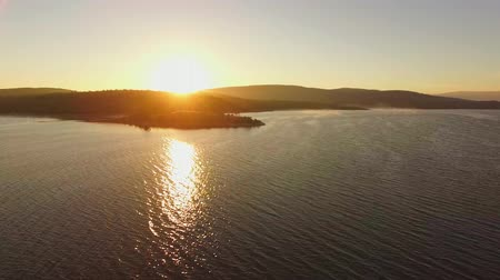 costa : AERIAL VIEW. Fantastic Sunset At Water Reservoir
