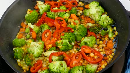 stir in a skillet fry vegetables