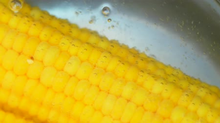 corn kernels in boiling water