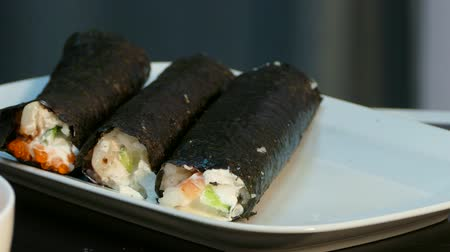 soya : Plate with blanks of sushi rolls