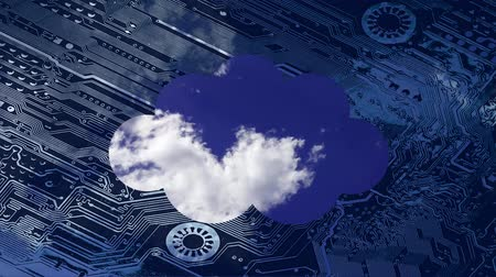 integrator : Cloud computing conceptual video. Deep blue sky with clouds time laps in a cloud on a circuit board background. Stock Footage