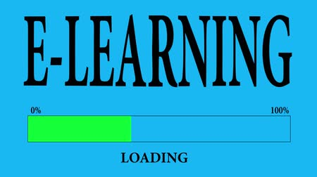 mesafe : Progress Bar Loading with the text: e-learning loading. Stok Video