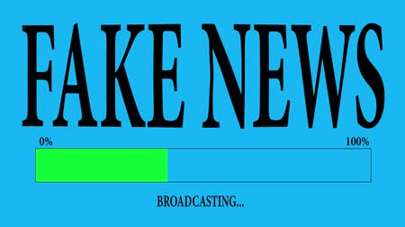 sahte : Progress Bar Loading with the text: fake news broadcasting. Stok Video
