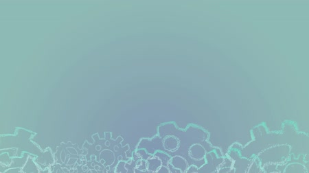 мел : Industrial conceptual background with copy space. Assembly gears animation at the bottom of the light blue gradient screen. Gears are uneven chalk drawn.