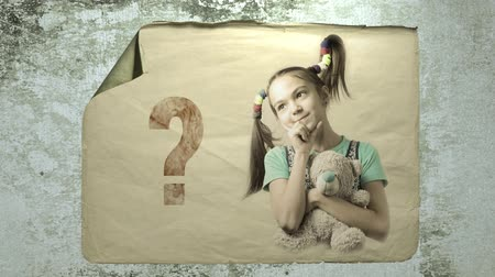 questionário : old paper ad on the wall with a portrait of a cute thoughtful girl with a teddy bear. imitation of camera shake and light flashes. Stock Footage