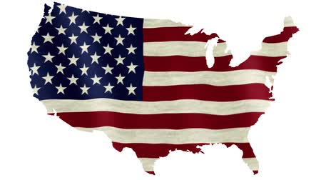 cartografia : Waving flag of the United States of America overlaid on detailed outline map isolated on white background Stock Footage