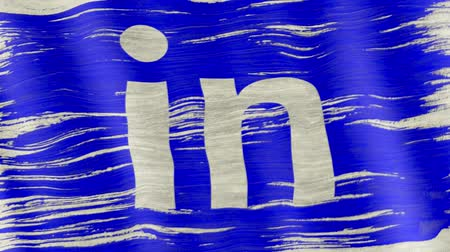 weathered : Moscow, Russia - March 24, 2018: Closeup of art brush watercolor painting Linkedin flag waving to the wind, logo animation.