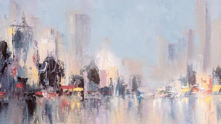 urbanística : Skyline city view with reflections on water. Original oil painting on canvas, animation with layers and glitch effect. Vídeos