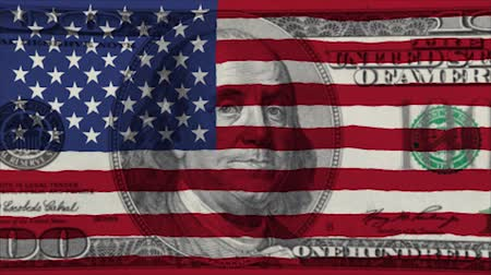 фонд : United States flag of america banknote background. Стоковые видеозаписи