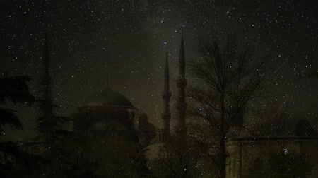 Night in Istanbul. Blue Mosque Under The Skyline. Sultan Ahmed Mosque. Animation of making. Elements of this image furnished by NASA.