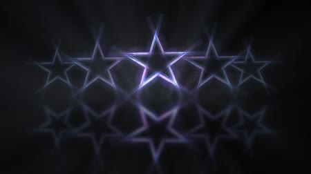 Five stars customer product rating review. Row of stars with mirror reflection on the floor, flickering animation.
