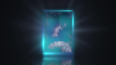 esély : Door to new world conceptual. Door from the dark black room that opens to an interior of the sky and clouds with light beams.