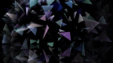 abstract geometric shapes triangles move on a black background. Vídeos