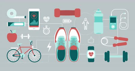 sports nutrition : Fitness; sports and healthy lifestyle concept: training shoes and sports equipment connecting together