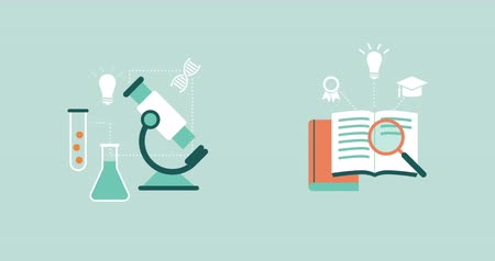 magnifier : Science, research, education and learning concepts: microscope, books and magnifier with concept icons