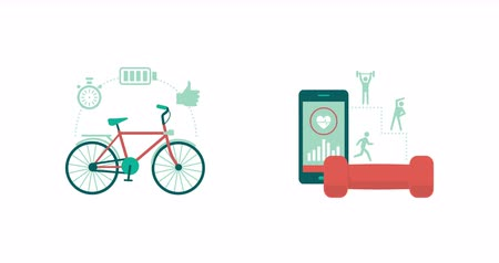 bisiklete binme : Sports, fitness, workout apps and cycling concept with conceptual icons Stok Video