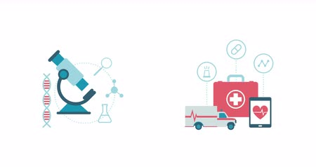 ambulância : Healthcare, medical research and emergency concept: microscope, ambulance and first aid kit with medical icons Stock Footage