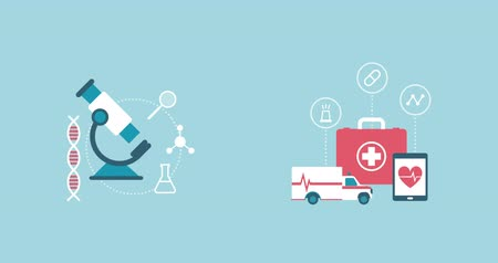 first aid kit : Healthcare, medical research and emergency concept: microscope, ambulance and first aid kit with medical icons Stock Footage