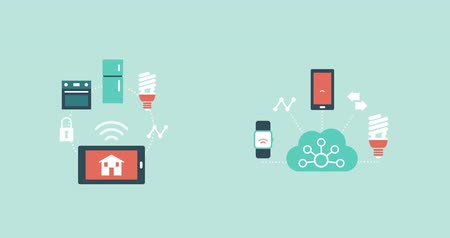 automatizálás : Internet of things and smart home concept: smart devices, appliances and mobile phone connecting together