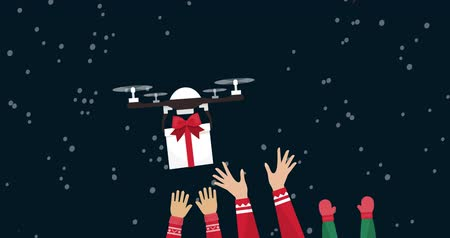 braços levantados : Drones bringing Christmas gifts to people, they are raising their arms and catching the presents, snow falling into the background: holiday shopping and product delivery concept