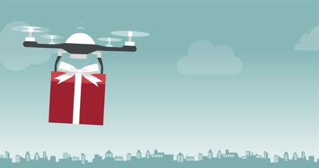 пропеллер : Drone carrying a Christmas gift in the sky, technology and holidays concept
