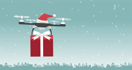 freighter : Santa Claus drone carrying a Christmas gift on eve, holidays and technology concept