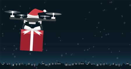 freighter : Santa Claus drone carrying a Christmas gift at night, holidays and technology concept
