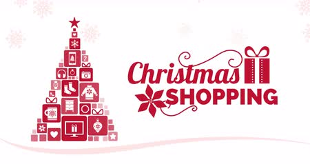 itens : Christmas shopping advertisement and tree composed of gifts, alpha channel