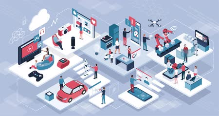usuário : Blockchain, internet of things and lifestyle: people using connected devices and touch screen interfaces, robots and smart industry Vídeos