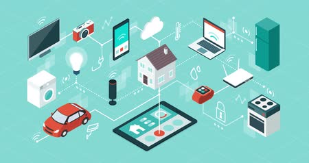 Internet of things app user interface, domotics and smart home innovations, isometric network of connected devices and appliances