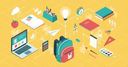 Back to school supplies and creativity kids concept, network of isometric vector concepts