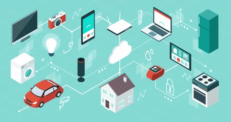 Internet of things, domotics and smart home innovations, isometric network of connected devices and appliances