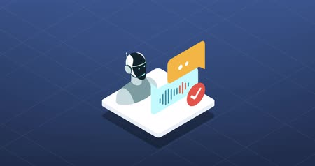 Virtual assistant, AI and speech recognition isometric icon Wideo