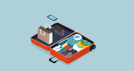 hatásos : How to pack your suitcase isometric clothes and accessories moving into an open suitcase Stock mozgókép