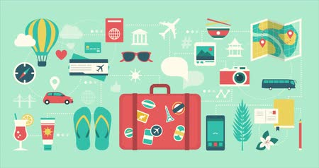 International travel, tourism and vacations icons and objects connecting together