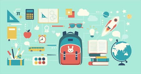 Back to school icons, supplies and objects connecting together, education, kids and learning concept Wideo