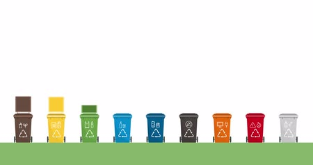 Separate waste collection and recycling: set of trash bins and sorting of different materials video animation
