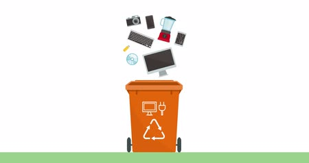 Separate waste collection and recycling educational animation: e-waste, broken devices and appliances falling in a trash bin