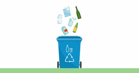 separado : Separate waste collection and recycling educational animation: glass objects falling in a trash bin Stock Footage
